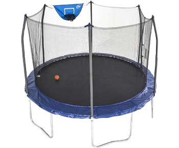 Skywalker Trampolines 12-Foot Jump N Dunk Trampoline with Enclosure Net