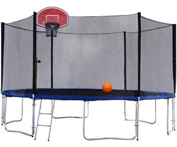 Exacme Outdoor Trampoline with Basketball Hoop Orange and Enclosure Ladder