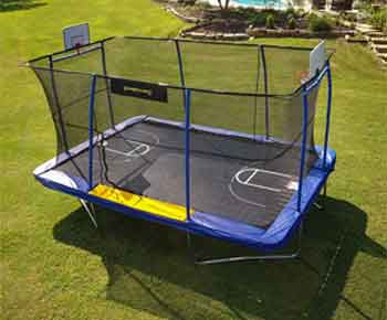 JumpKing-10'-x-15'-Rectangular-Trampoline-with-BB-Hoop,-Volleyball-Court-and-Foot-Step